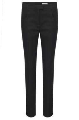 'Anaita' | Stretch Cotton Zip Pocket Trousers, Black