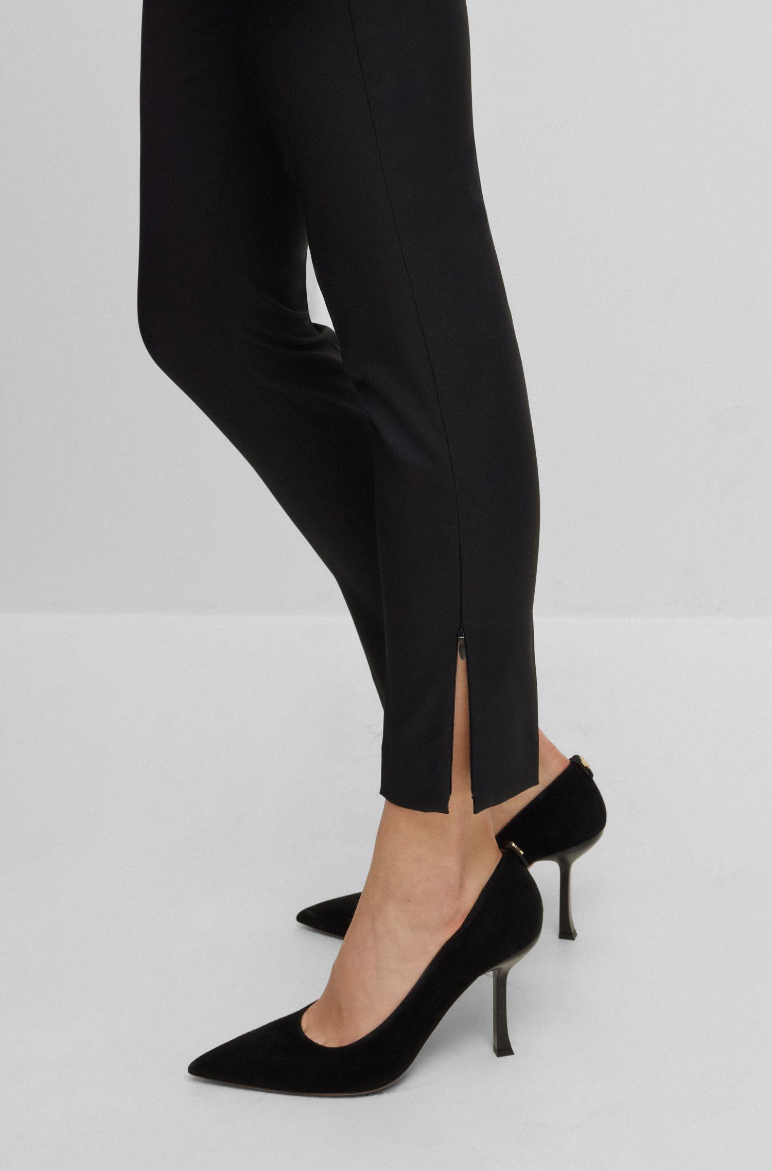 Slim-fit pants with zipped hems, Black