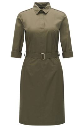 'Dashiri' | Stretch Cotton Belted Shirt Dress, Khaki