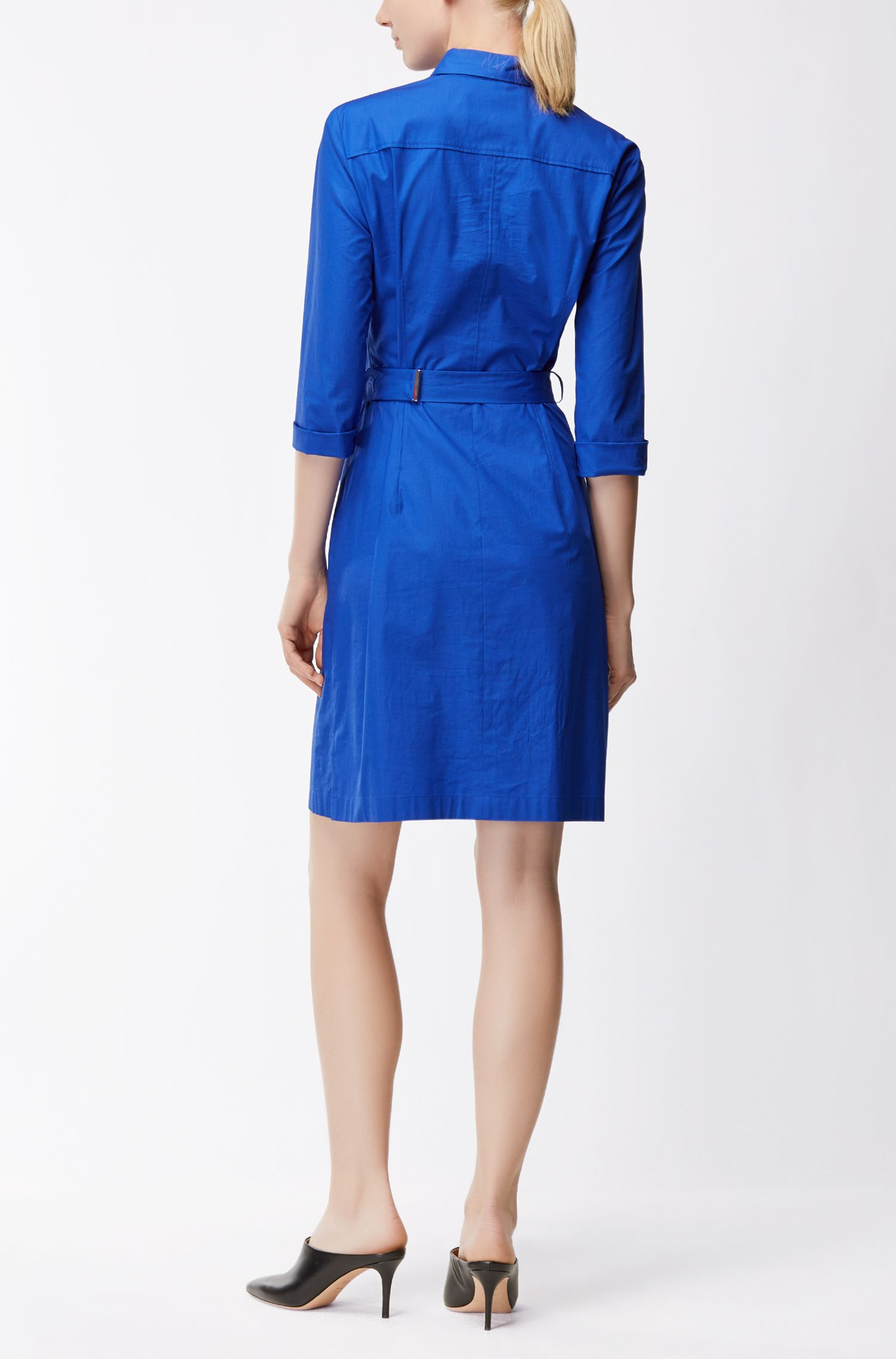 Stretch Cotton Belted Shirtdress | Dashiri, Blue