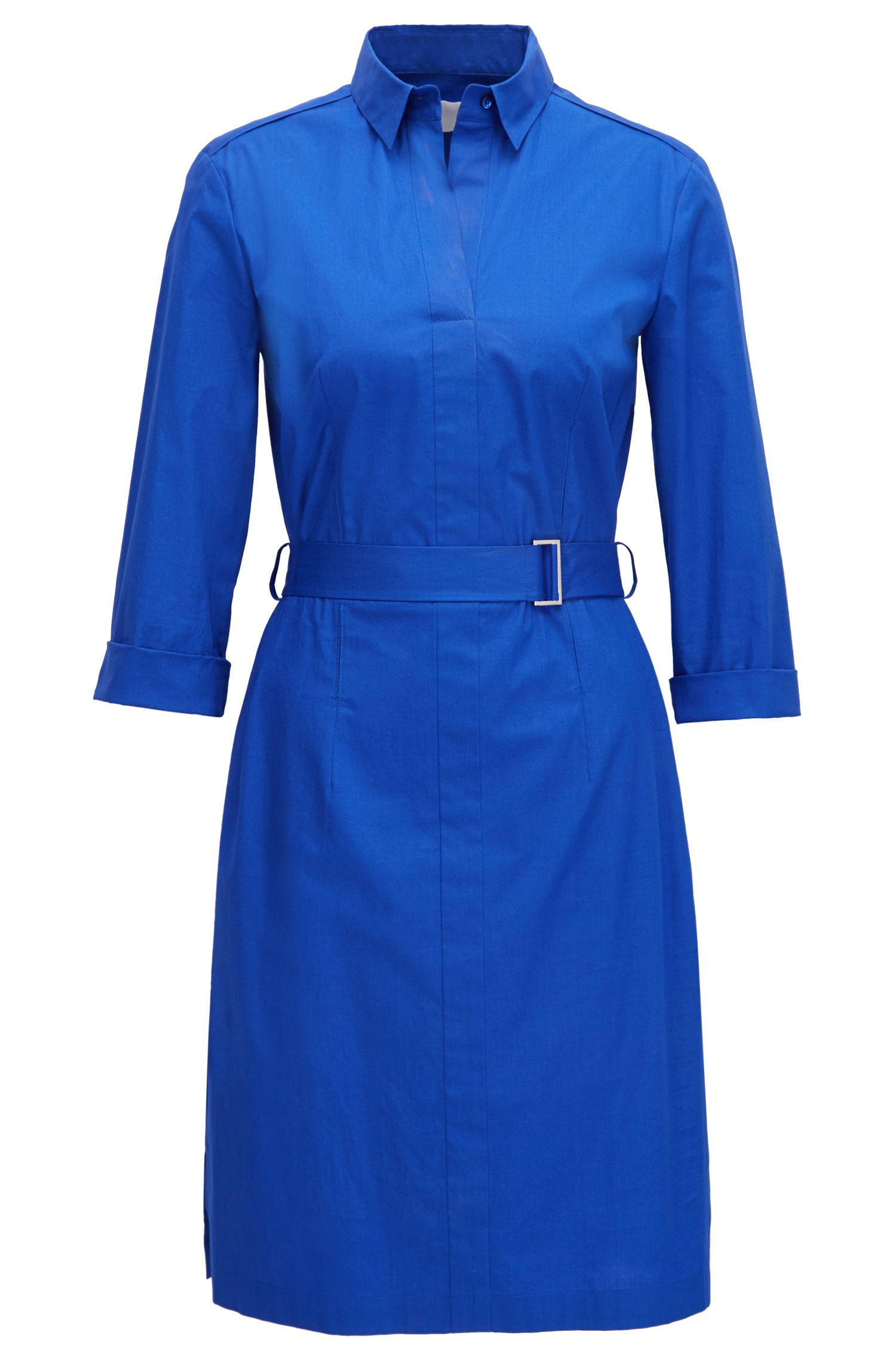 Stretch Cotton Belted Shirtdress | Dashiri
