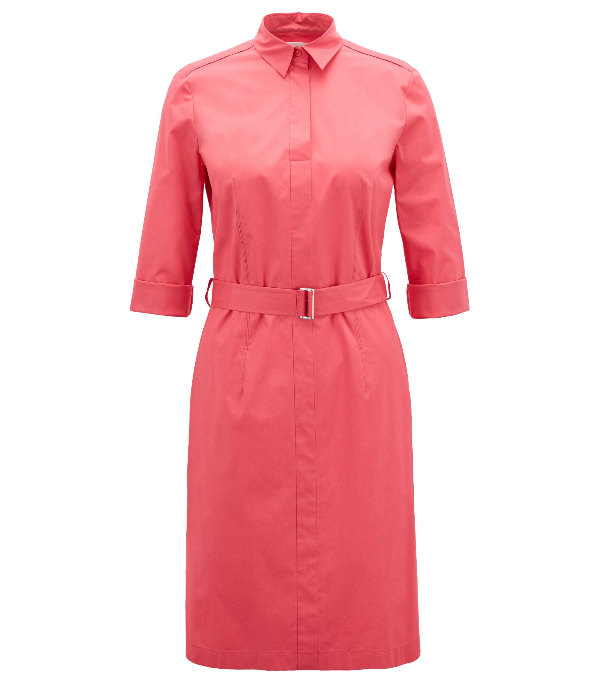Stretch Cotton Belted Shirtdress | Dashiri, Open Pink