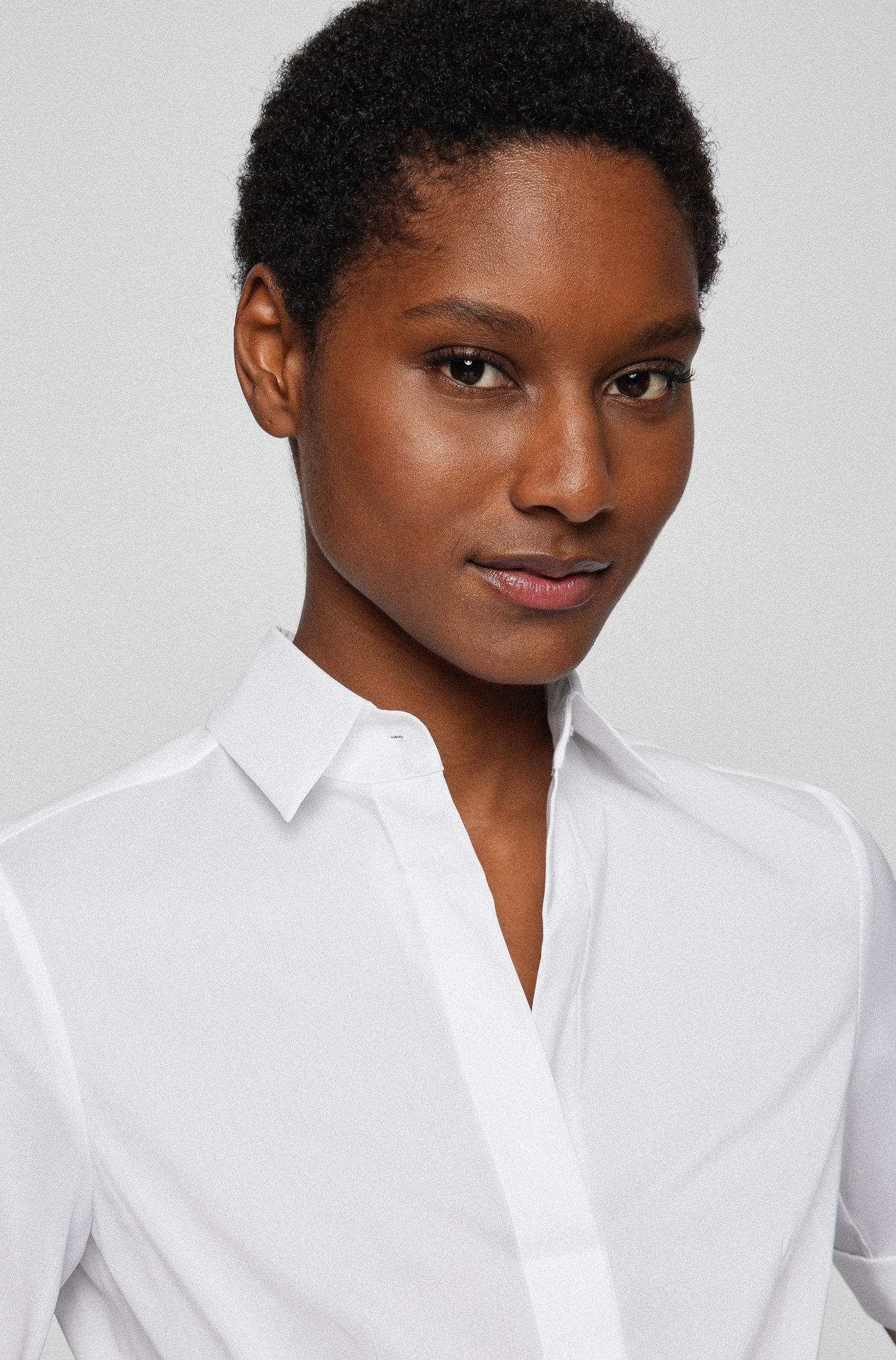 Slim-fit cotton-blend blouse with mock placket , White