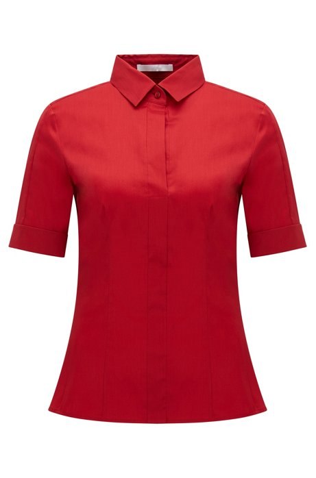 Slim-fit cotton-blend blouse with mock placket , Red