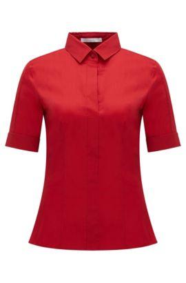 'Bashini' | Stretch Cotton Blend Blouse, Red