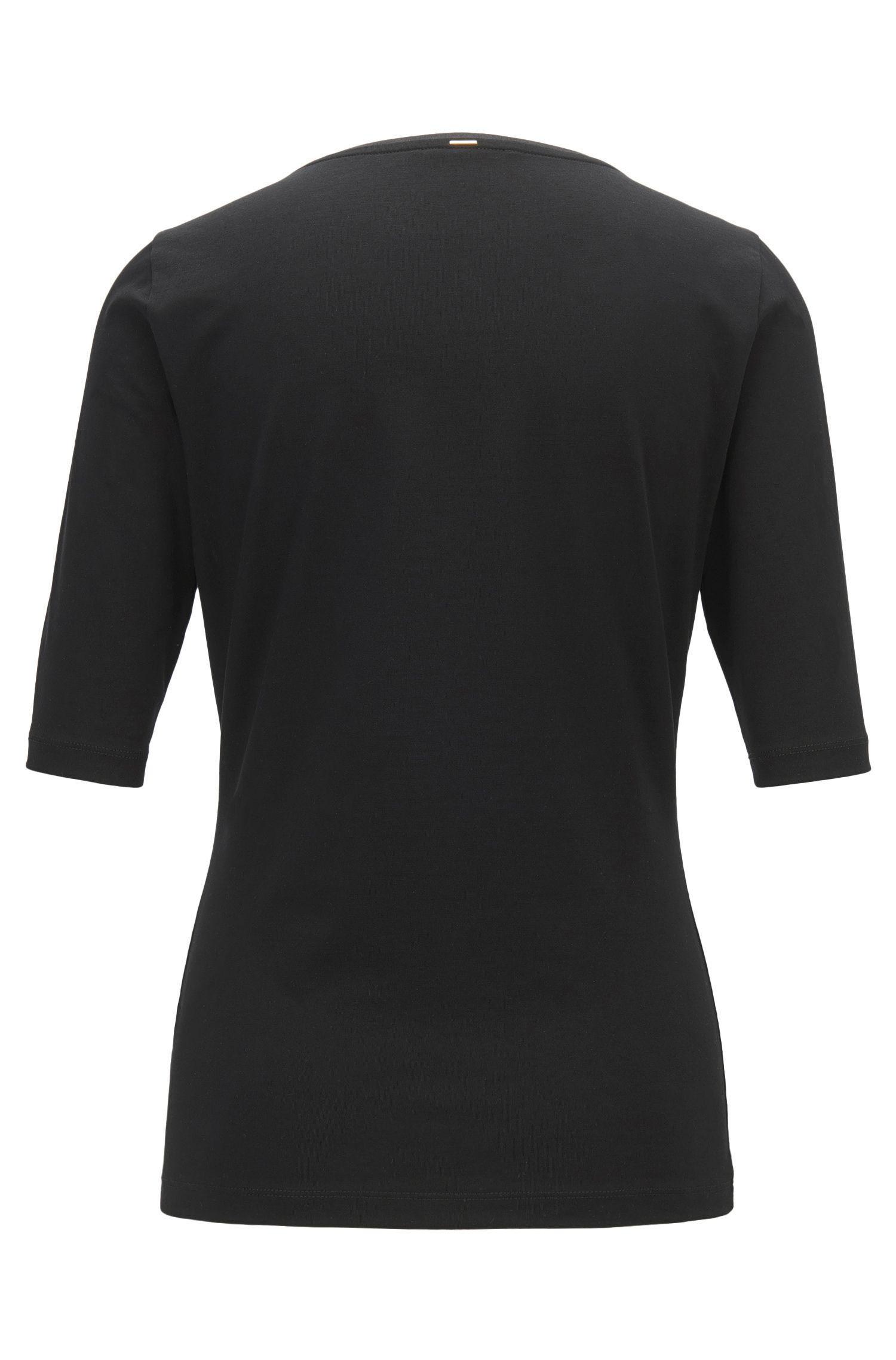 Stretch Cotton Jersey Blouse | Emmsi, Black