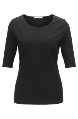 'Emmsi' | Stretch Cotton Jersey Blouse, Black