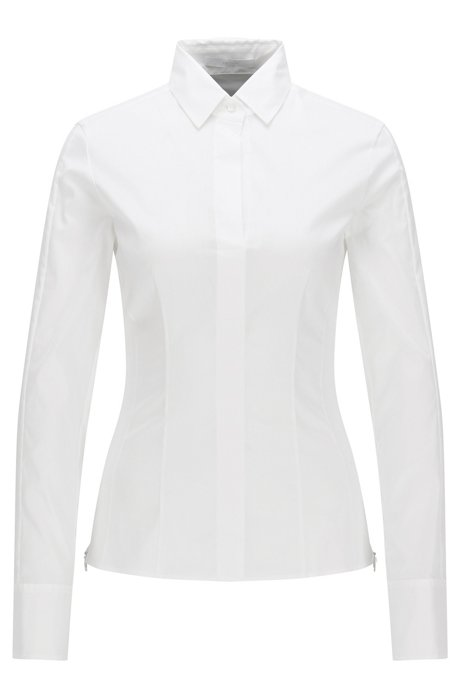 Discount With Paypal Discount Countdown Package Hugo Boss Slim-fit blouse darted seam detail 14 Light Blue BOSS wy33jT