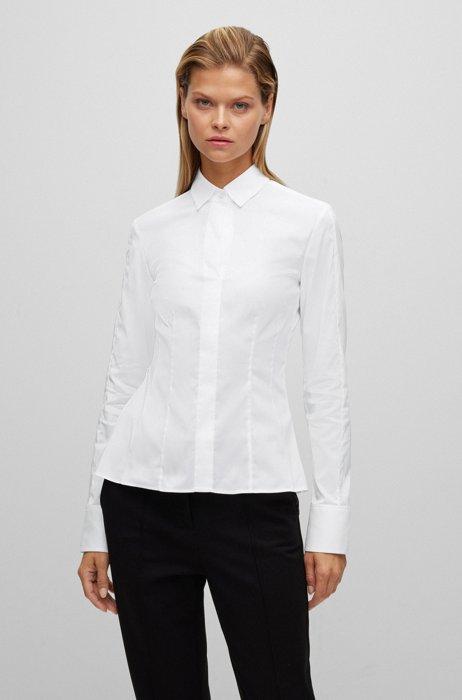 Slim-fit blouse in stretch cotton-blend poplin, White