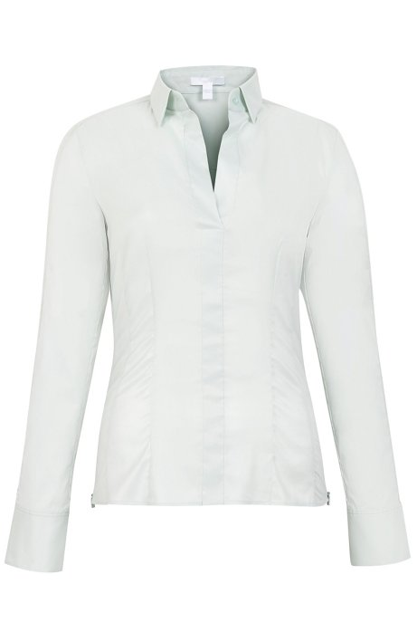 Slim-fit blouse with darted seam detail , Light Green