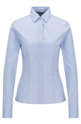 'Bashina' | Cotton Blend Blouse, Light Blue