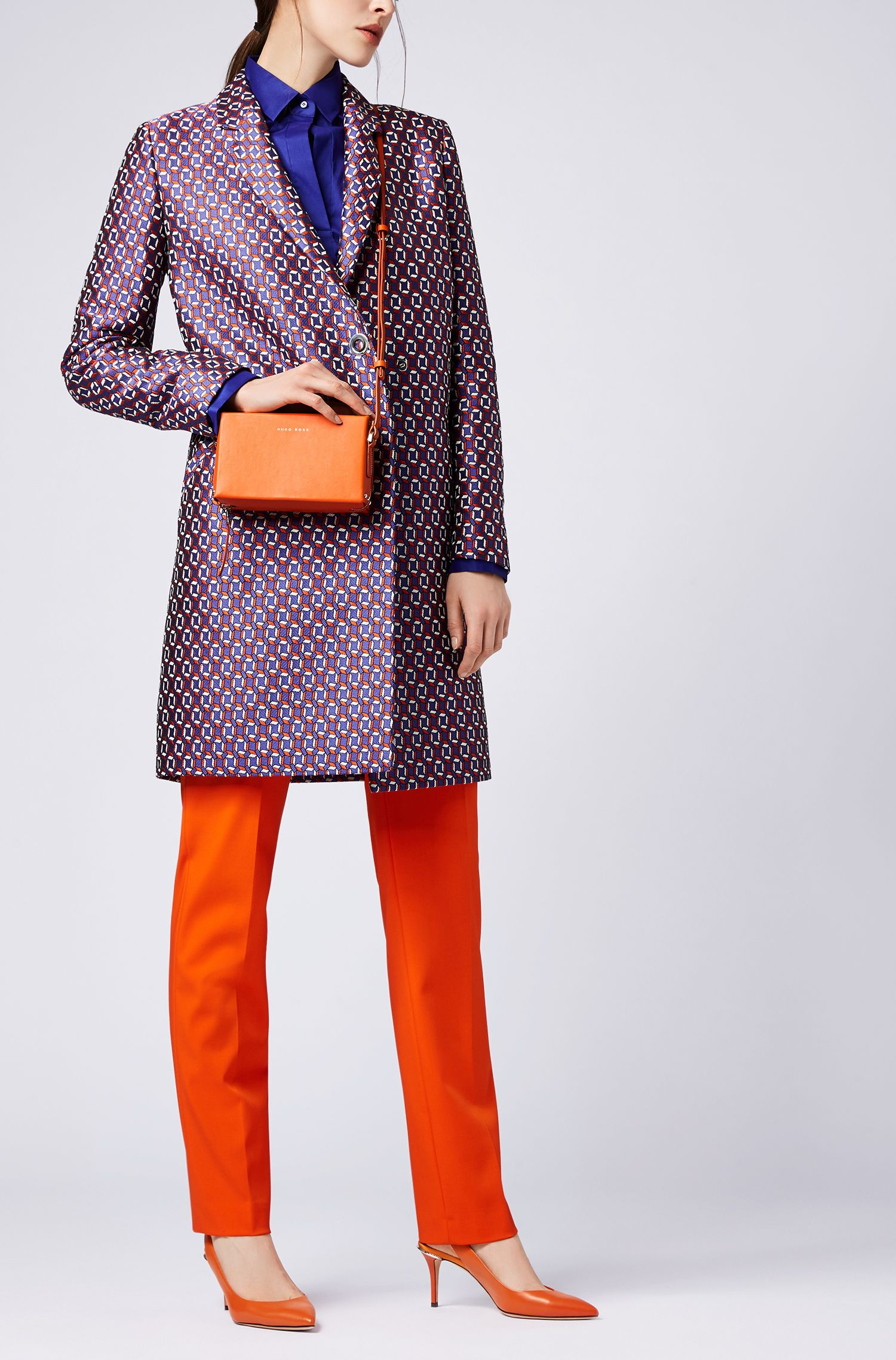 Slim-fit blouse with darted seam detail , Open Purple