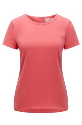 'Ilyna' | Crepe Short Sleeved Blouse, Light Red