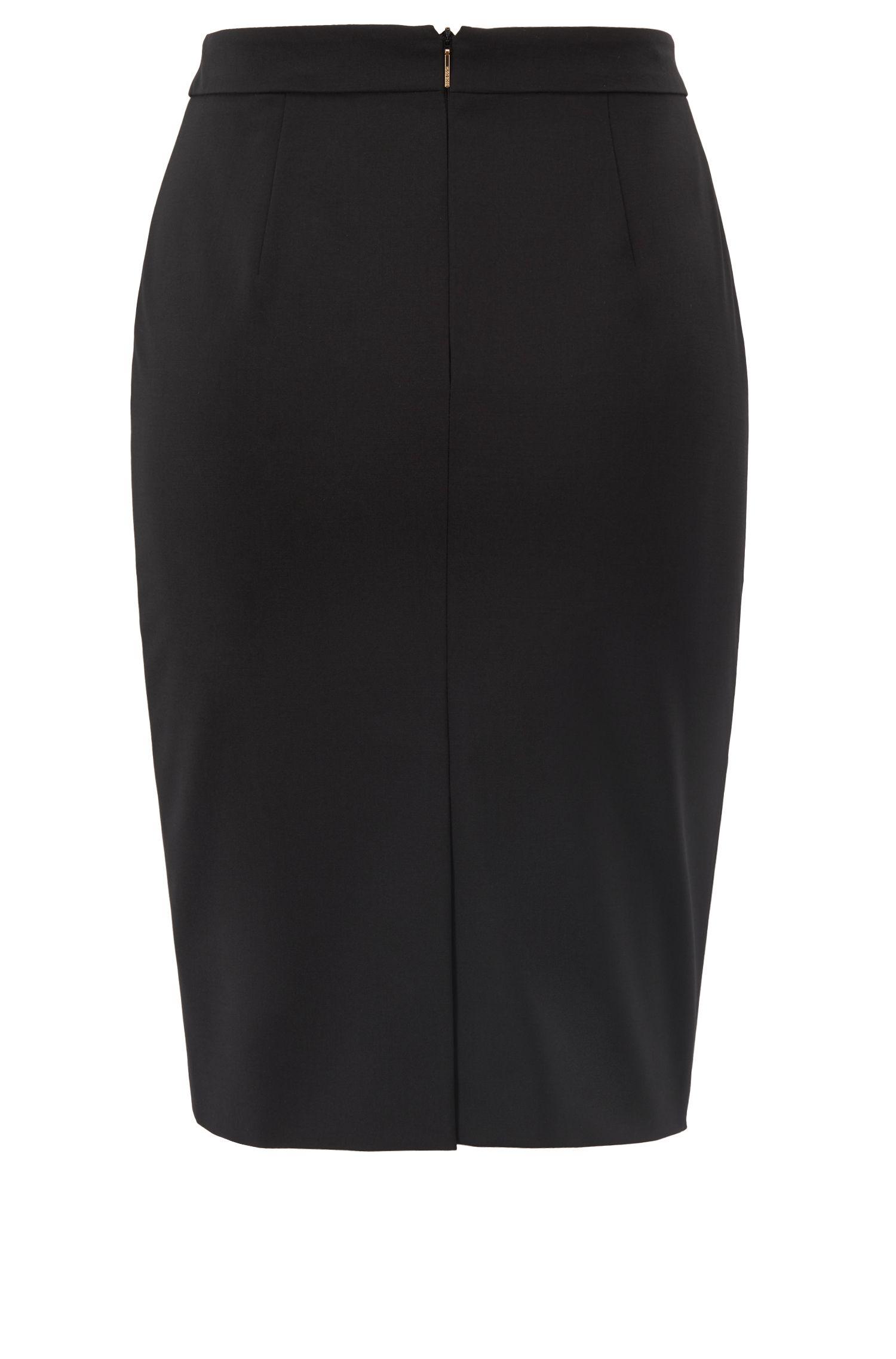 Stretch wool slim-fit pencil skirt , Black
