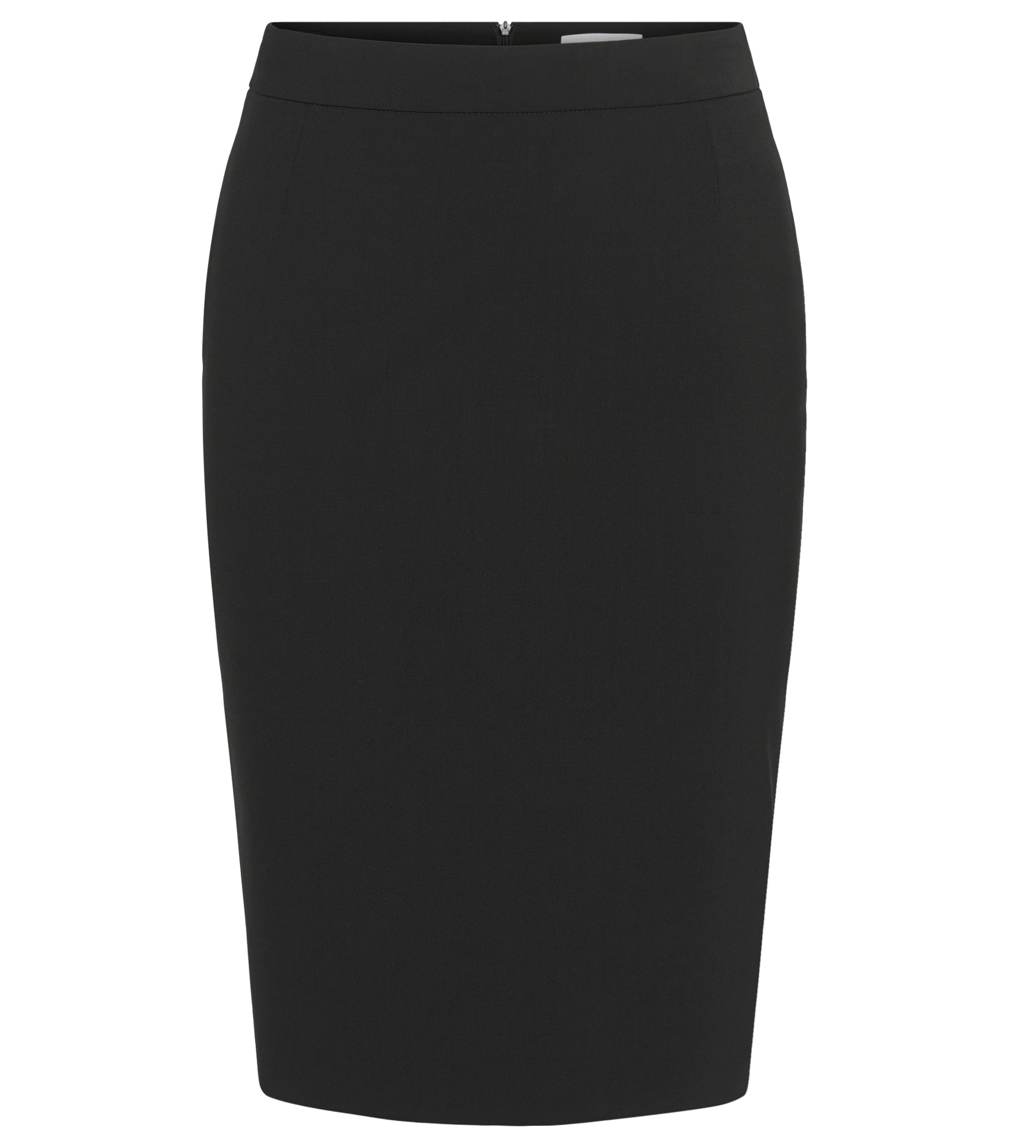 Stretch Virgin Wool Pencil Skirt | Vilea, Black
