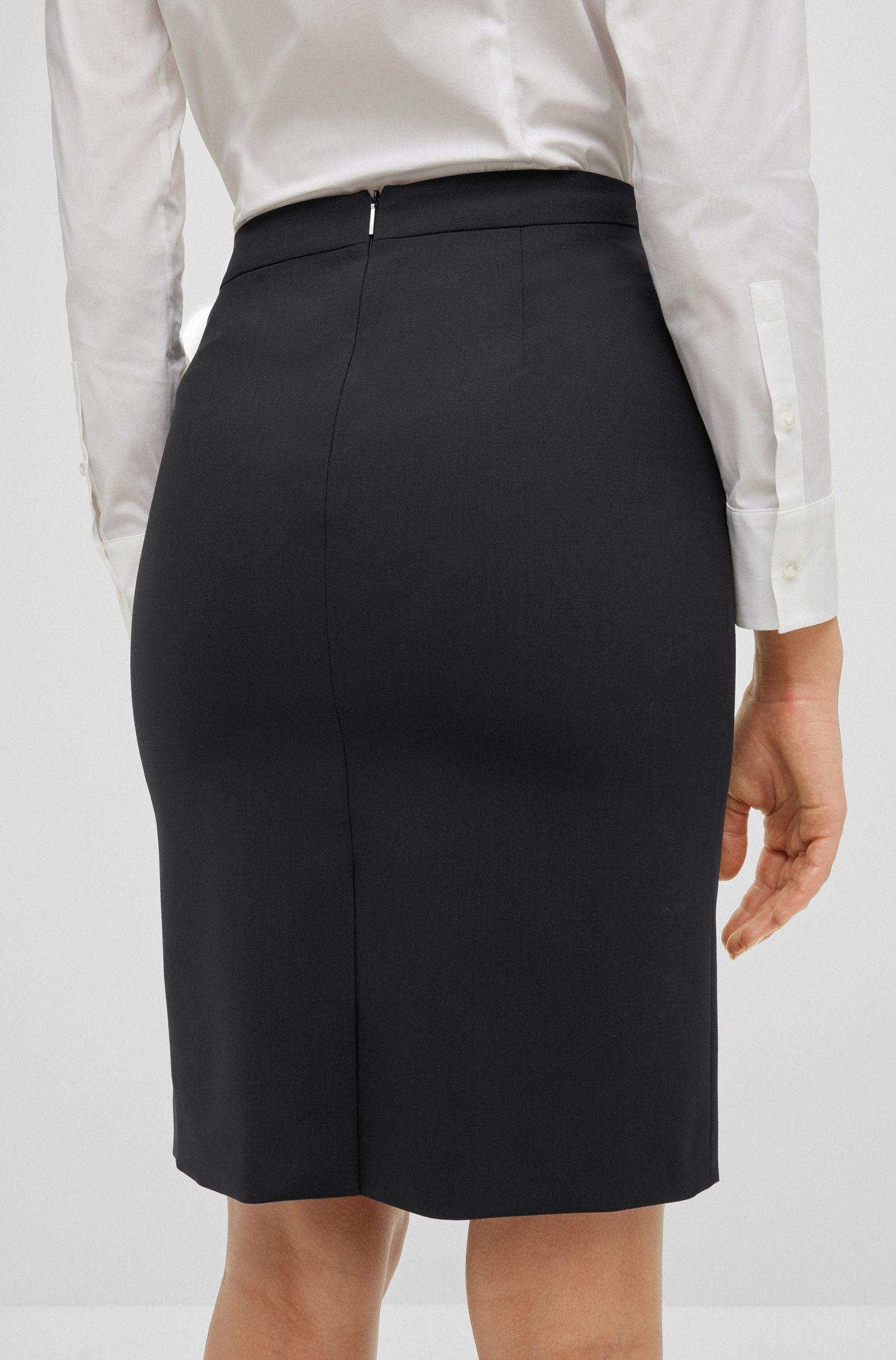 Stretch Virgin Wool Pencil Skirt | Vilea, Black