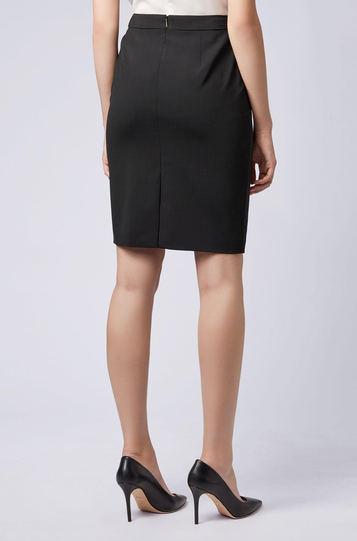 Stretch Virgin Wool Pencil Skirt   Vilea, Black