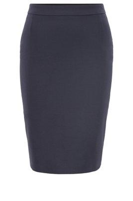 Stretch wool slim-fit pencil skirt , Dark Blue