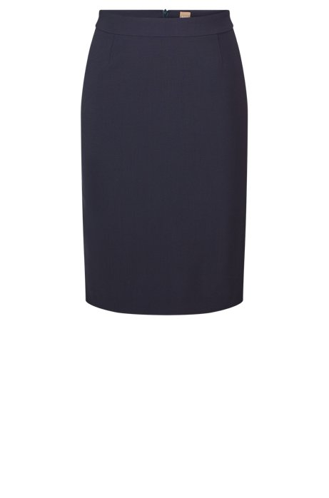 Stretch wool slim-fit pencil skirt , Open Blue