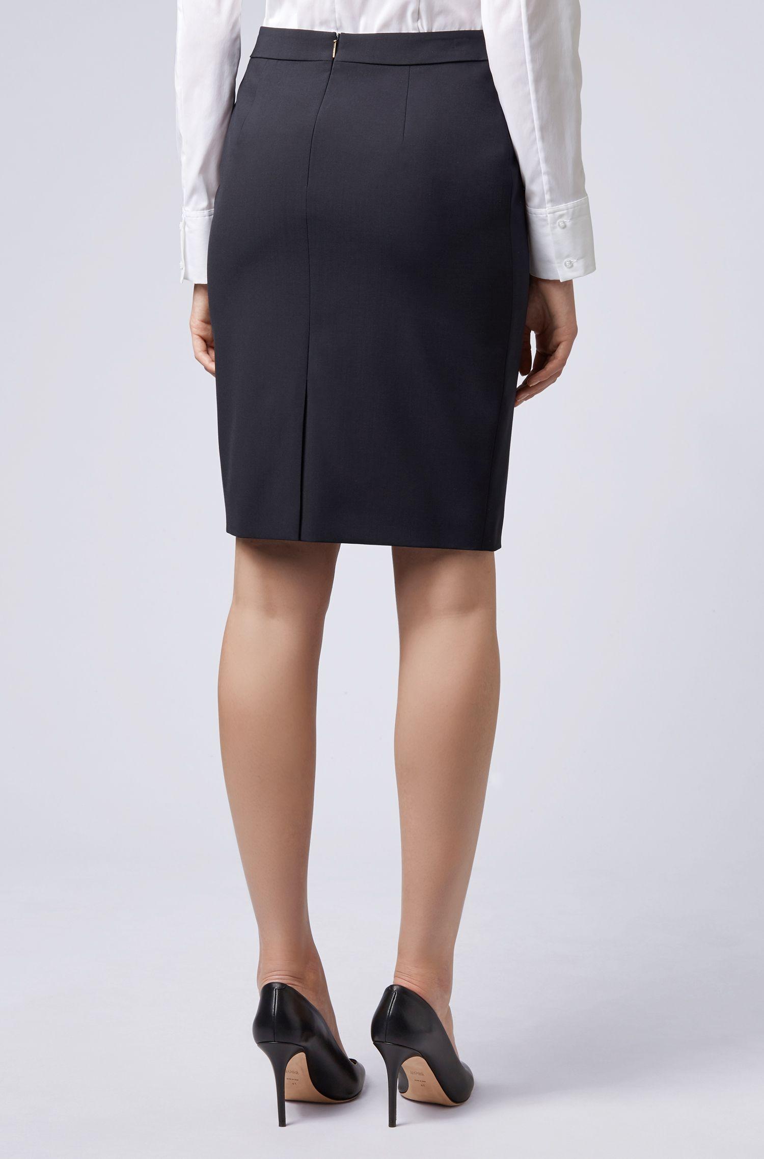 Stretch Virgin Wool Pencil Skirt | Vilea, Open Blue