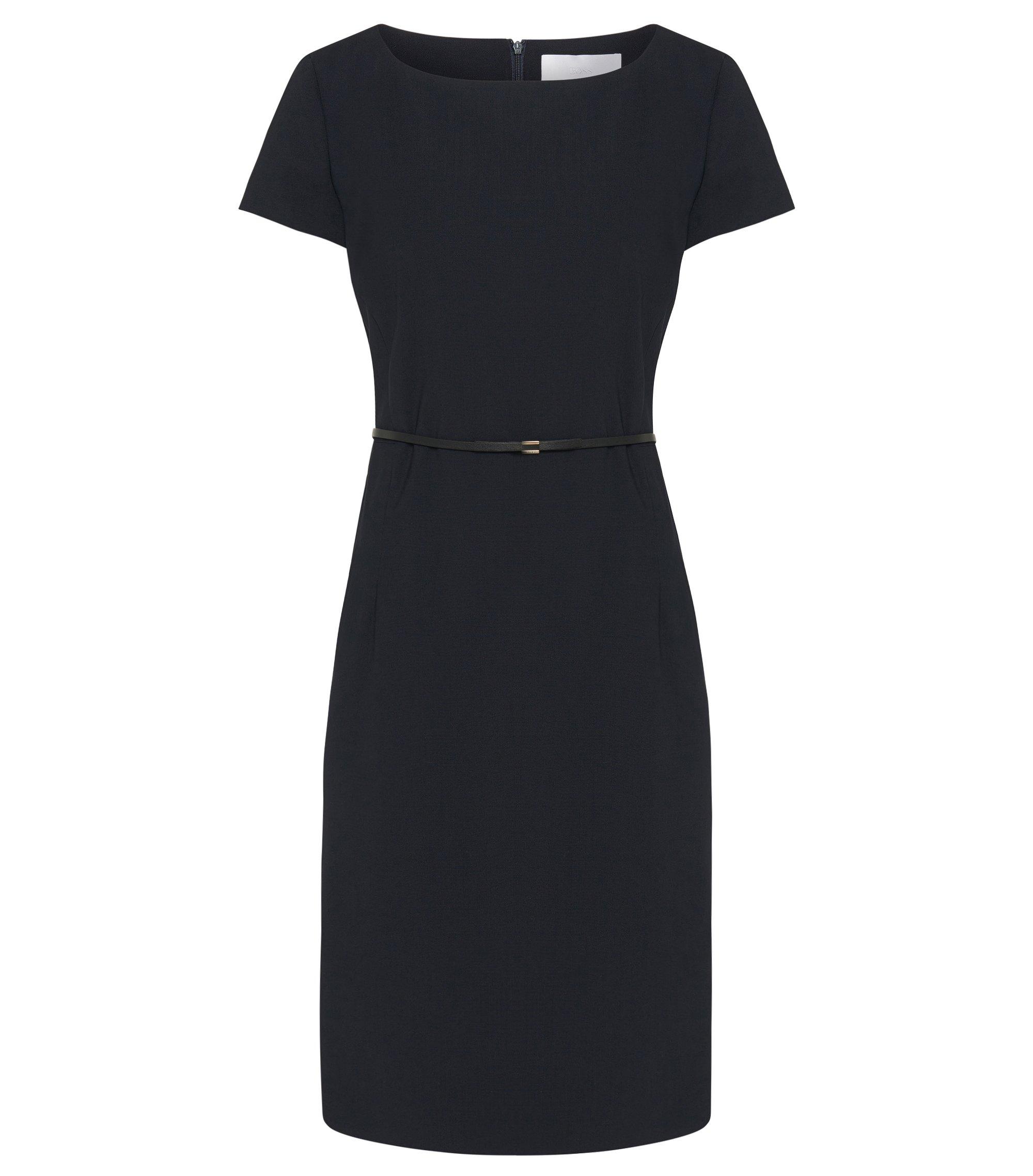 Belthed Stretch Wool Sheath Dress | Dilva, Open Blue