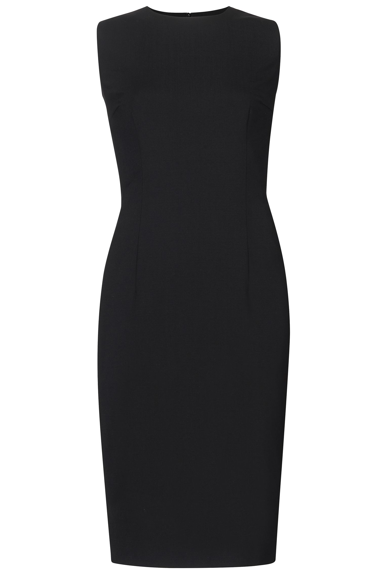 Stretch Virgin Wool Shift Dress | Dirusa, Black
