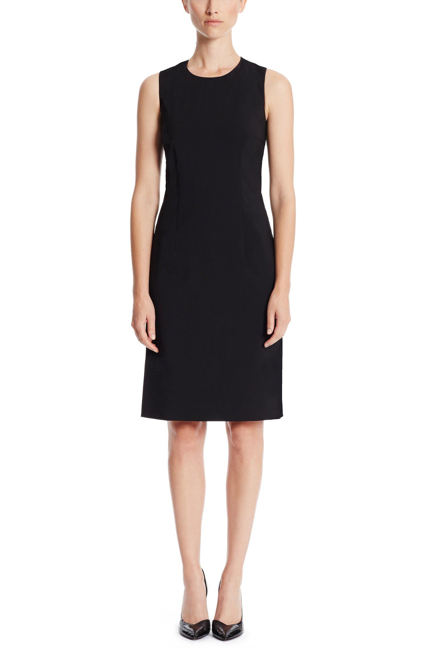 Sleeveless shift dress in Italian stretch wool, Black