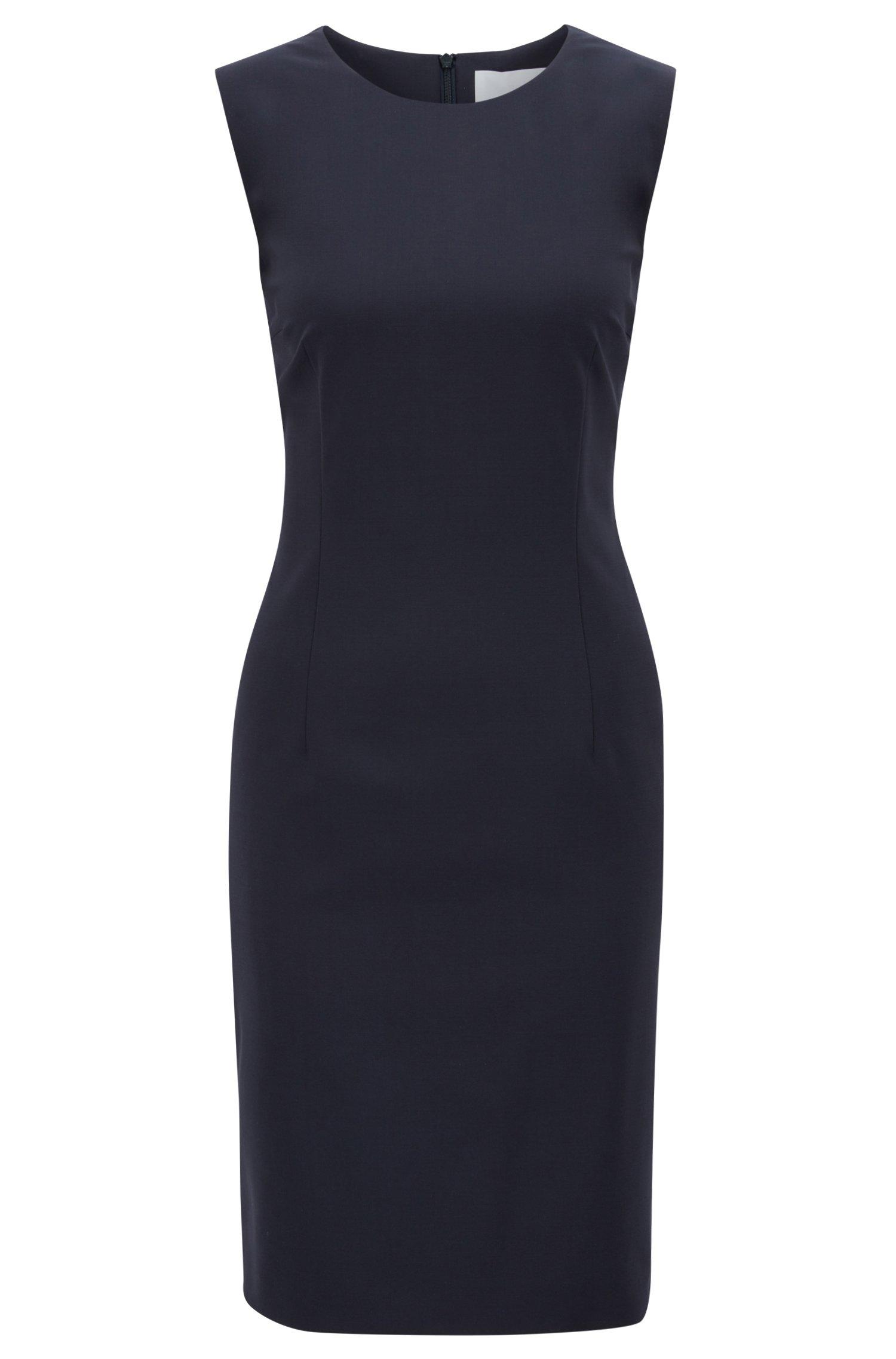Stretch Virgin Wool Shift Dress   Dirusa, Dark Blue