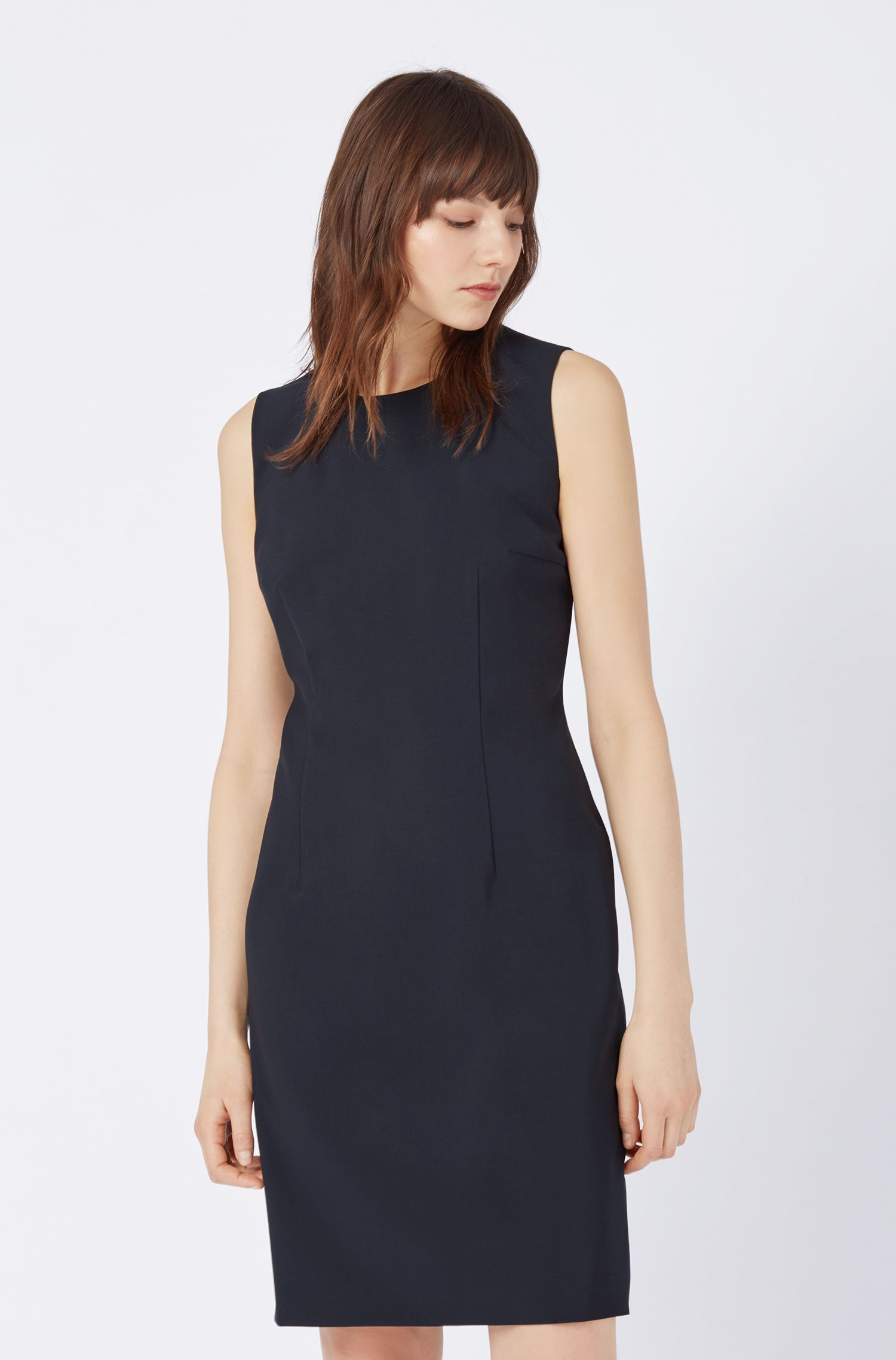 Stretch Virgin Wool Shift Dress | Dirusa, Dark Blue