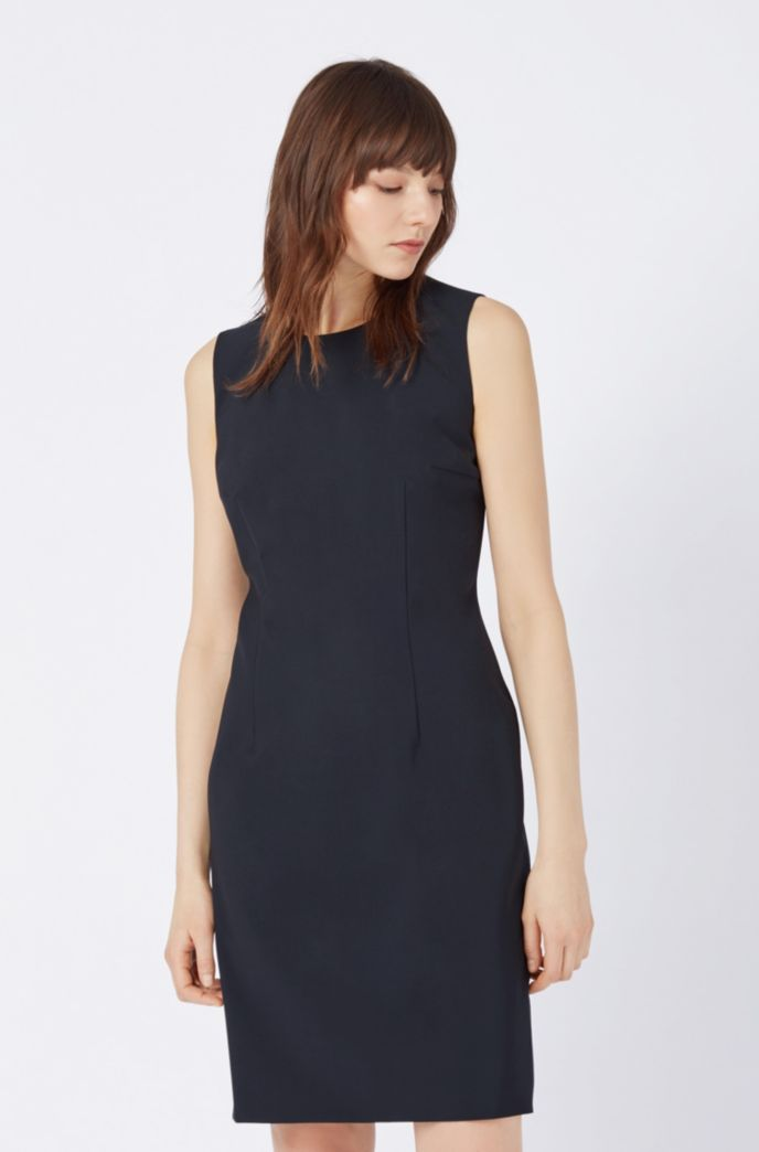 Stretch Virgin Wool Shift Dress | Dirusa