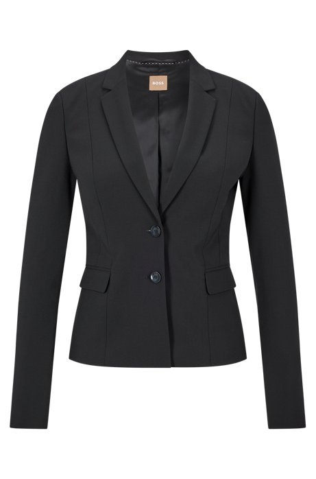 Stretch wool jacket with narrow lapels , Black
