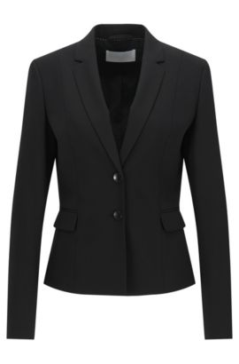 Stretch Virgin Wool Blazer | Jaru, Black