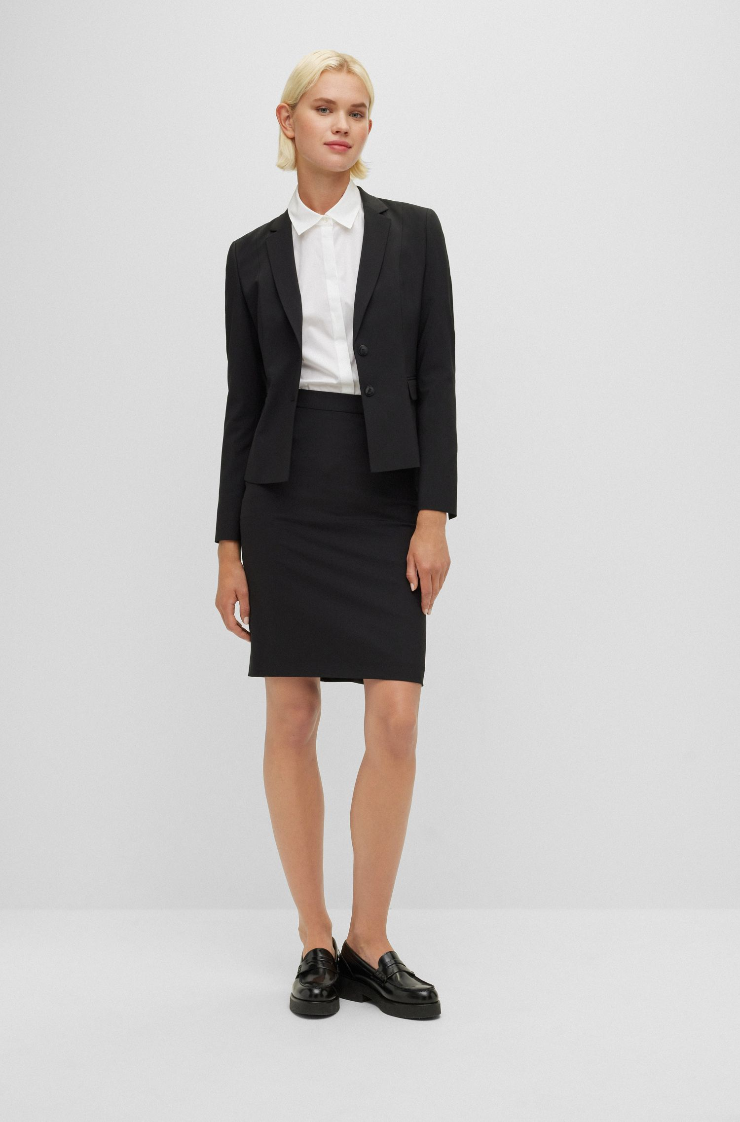 Stretch wool jacket with narrow lapels , Black