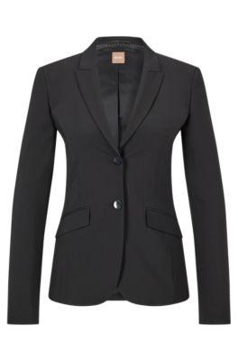 Stretch Virgin Wool Jacket | Julea, Black