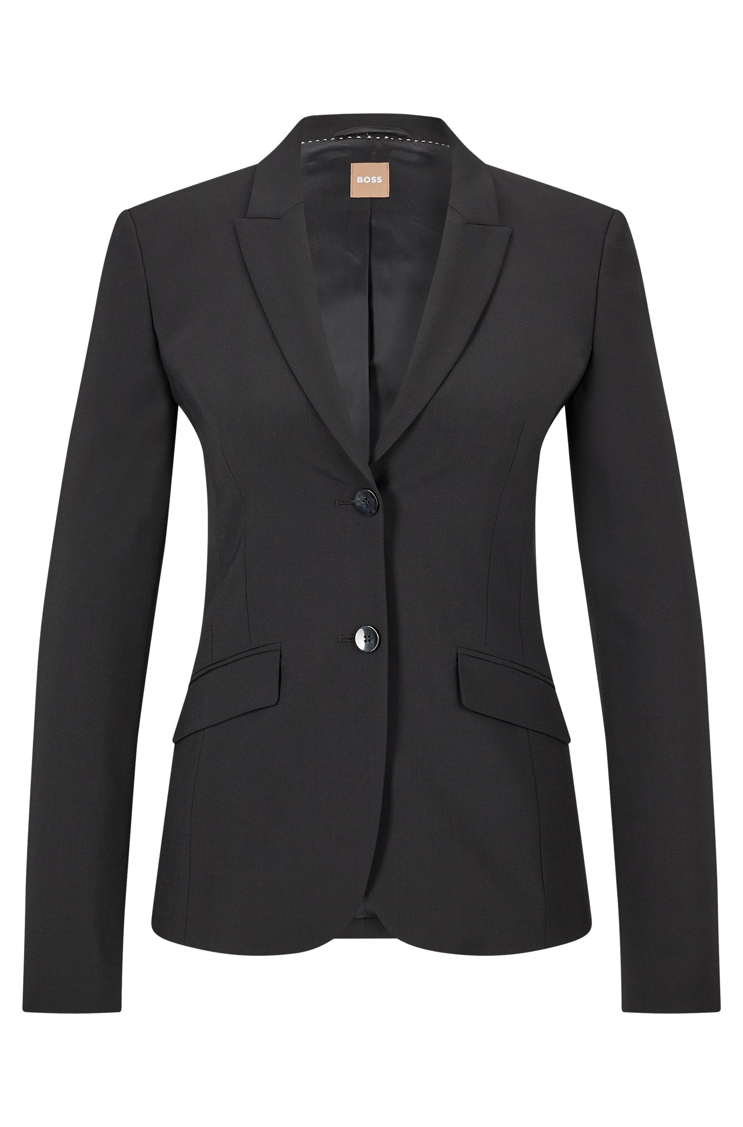 Stretch Virgin Wool Jacket | Julea, Black