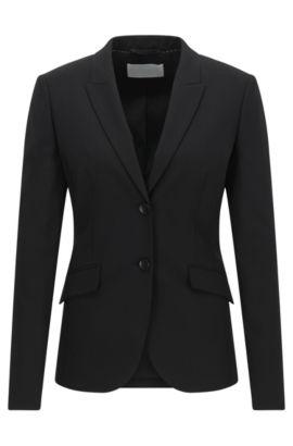 'Julea' | Stretch Virgin Wool Jacket, Black