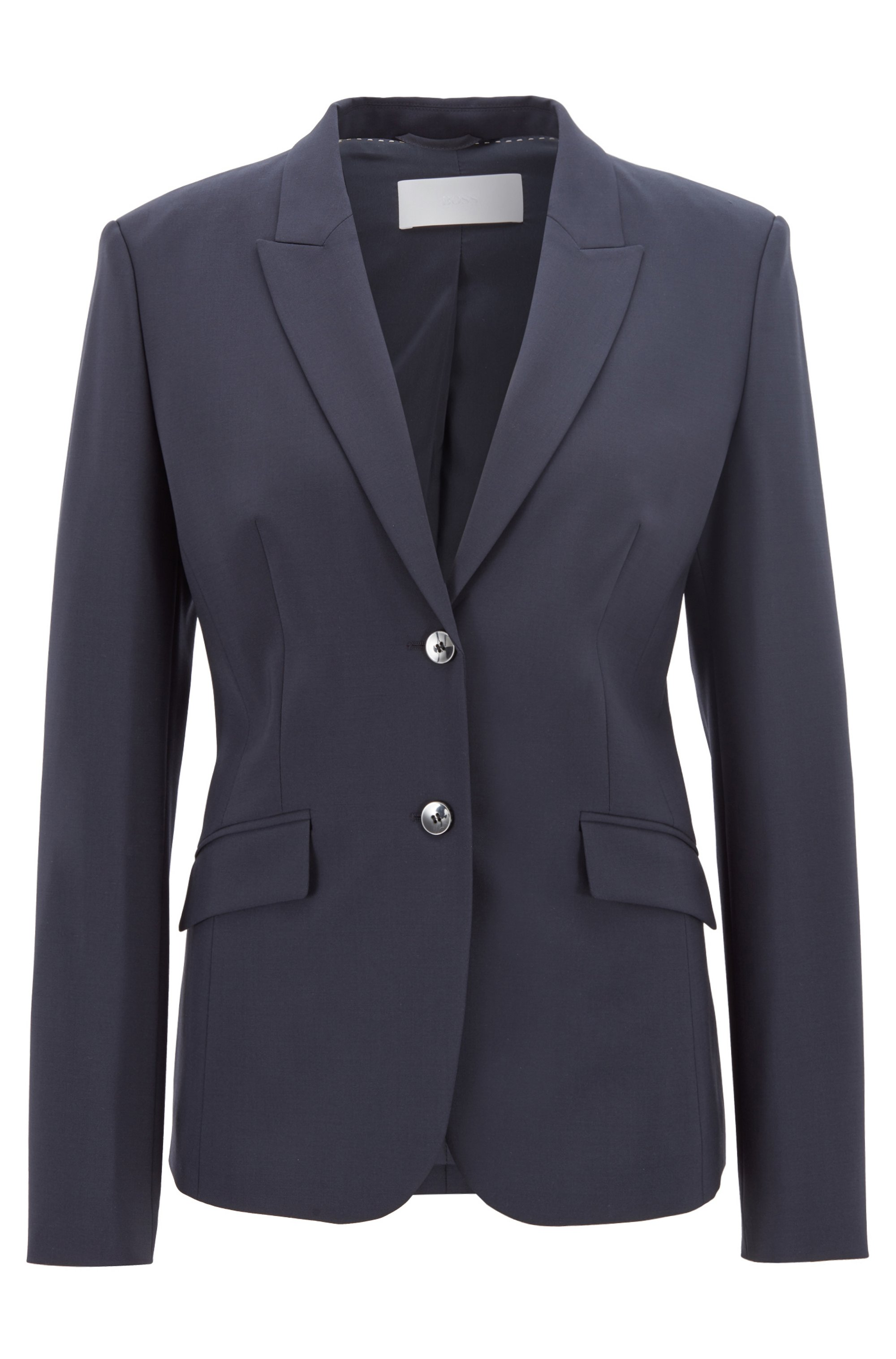 Stretch wool blazer with peak lapels, Dark Blue
