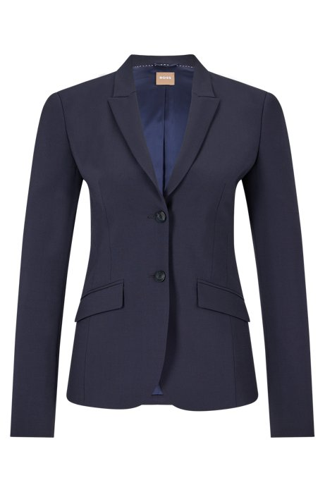 Stretch wool blazer with peak lapels, Open Blue