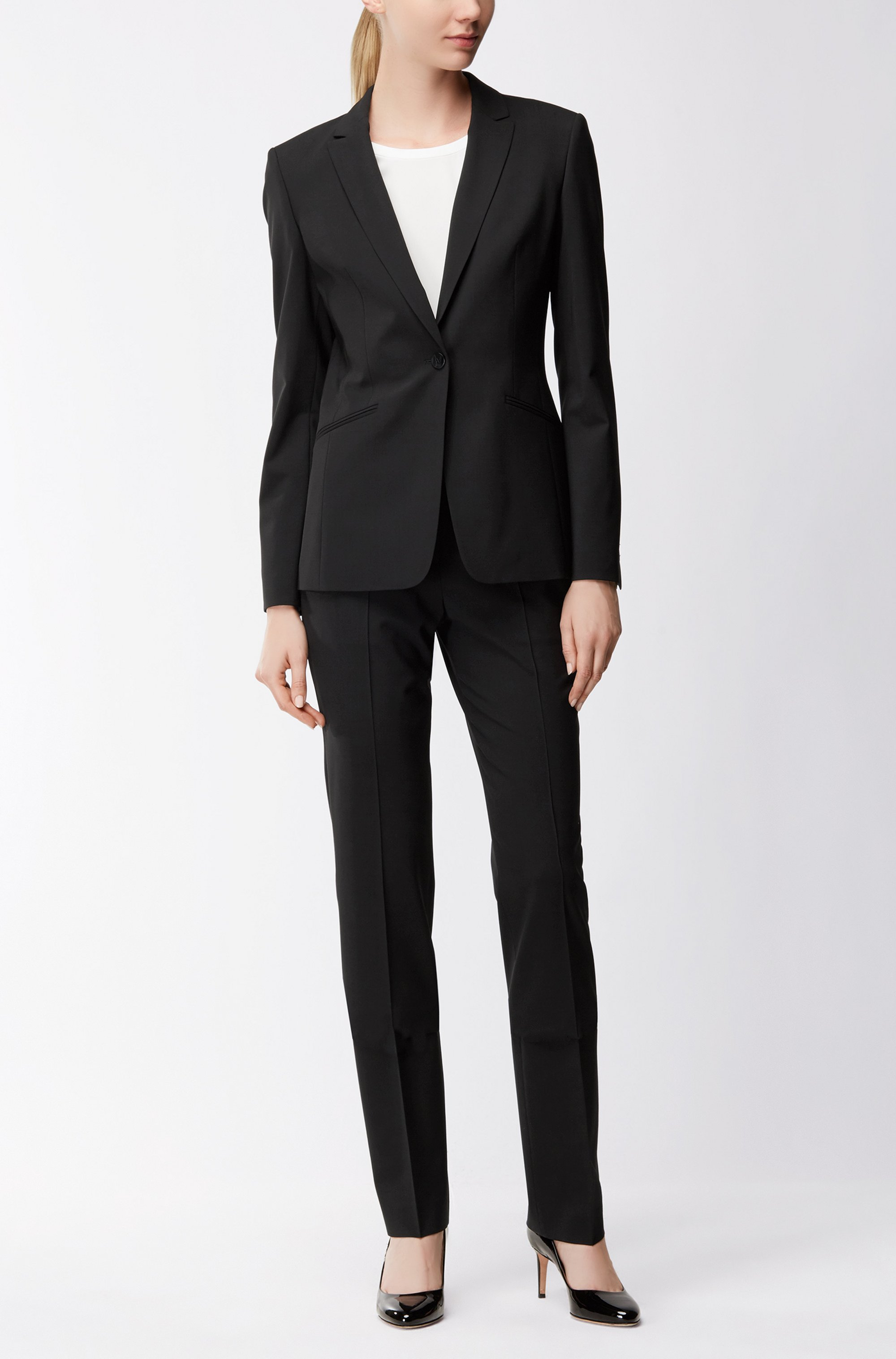 Stretch wool blazer with curved lapels