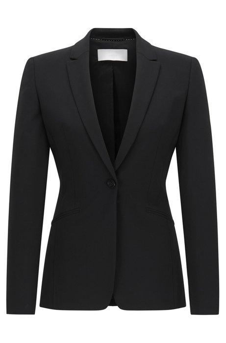 Stretch wool blazer with curved lapels , Black