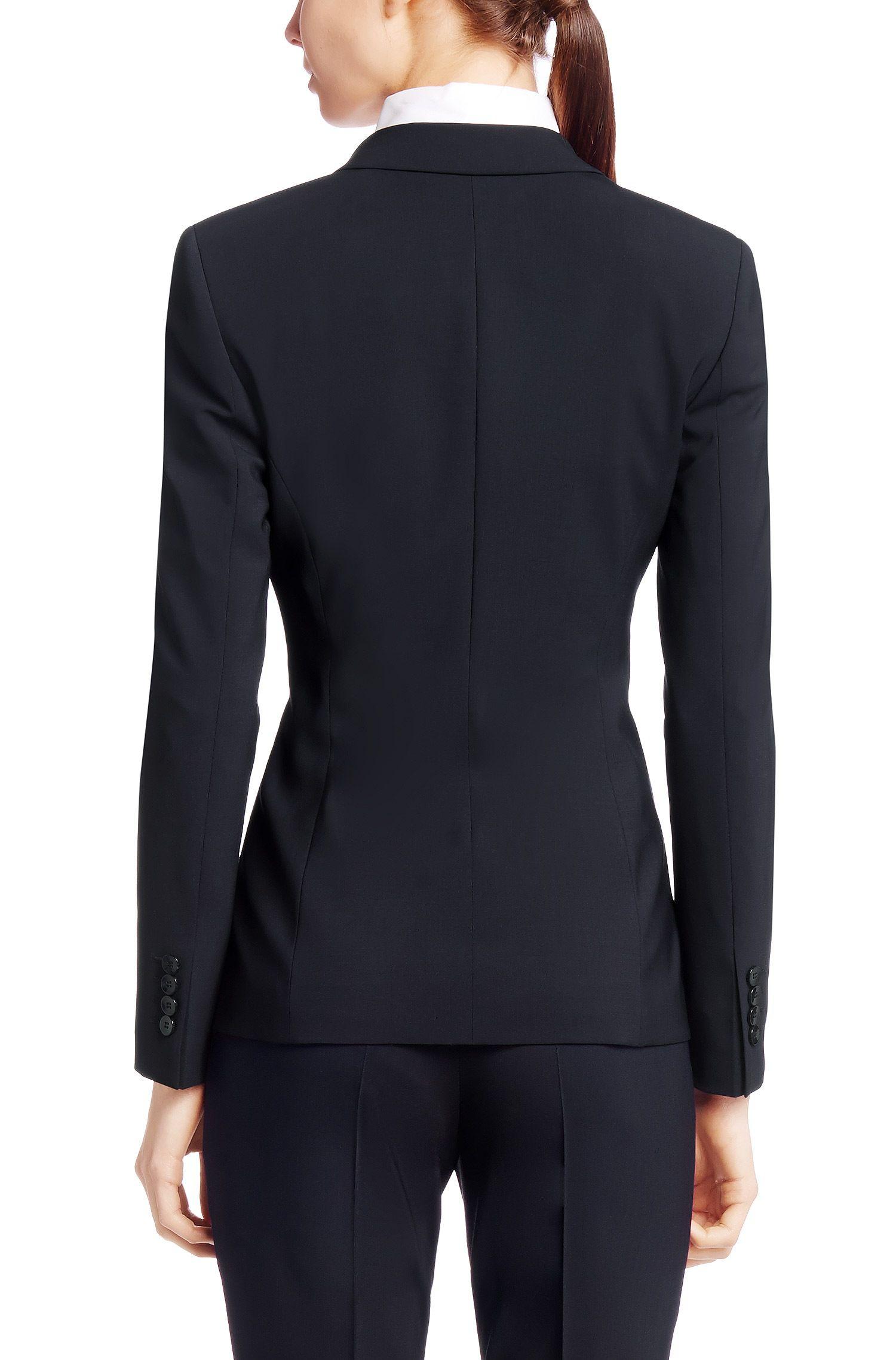 Stretch Virgin Wool Blazer | Jabina, Open Blue