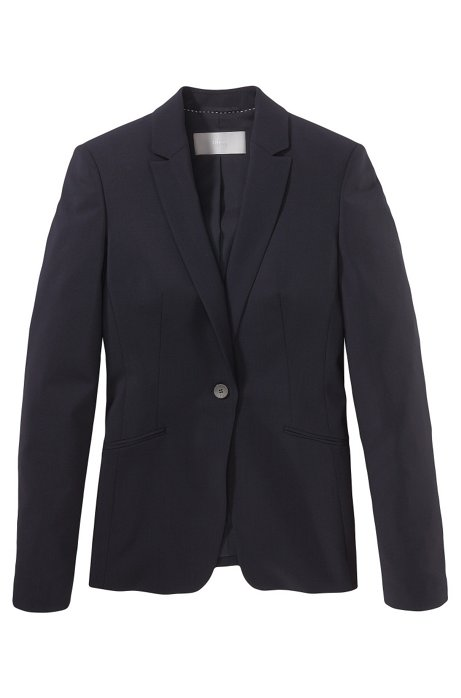 Stretch wool blazer with curved lapels , Open Blue