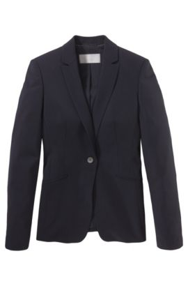 Stretch Virgin Wool Blazer | Jabina, Open Blue