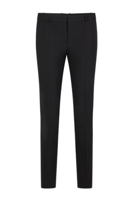 Slim-fit cropped pants, Black