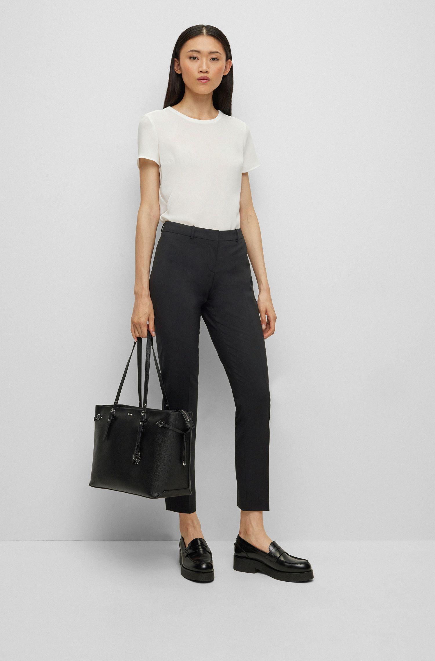 Slim-fit cropped pants, Black