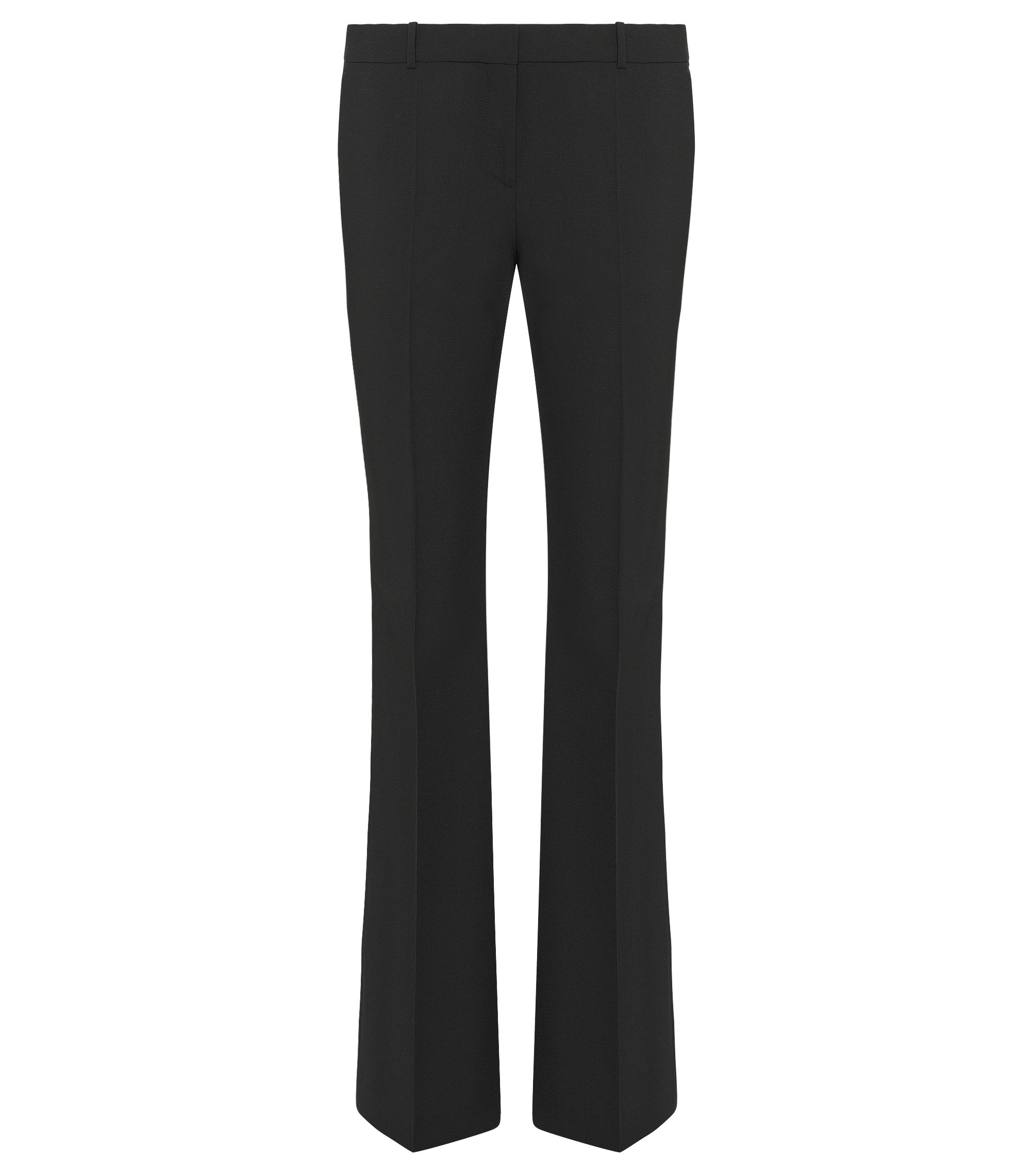 Stretch Virgin Wool Boot Cut Dress Pant | Tulea, Black