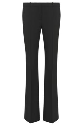 'Tulea Front Zip' | Stretch Virgin Wool Boot Cut Dress Pants, Black