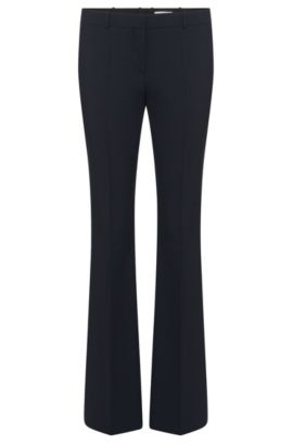 'Tulea Front Zip' | Stretch Virgin Wool Boot Cut Dress Pants, Open Blue