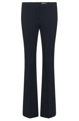 'Tulea Front Zip' | Stretch Virgin Wool Boot Cut Dress Pants, Open Blue