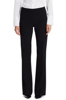 Boot-leg pants in Italian stretch-virgin-wool, Black
